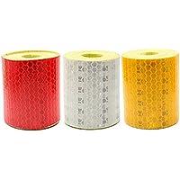 Vococal 3 pcs bandas reflechissantes, cinta reflectante adhesiva seguridad atención banda 5 x 300 cm