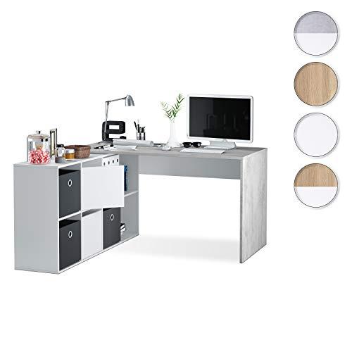 Habitdesign 0L4606A Mesa Escritorio, despacho Reversible, Estudio Modelo Adapta XL, Color Blanco artik y Gris Cemento, 74 x 136 x 139 cm