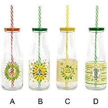 Botella de Cristal con Pajita y Mensaje Positivo. Diseño Motivador. Hogar y más.
