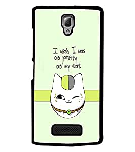 PrintDhaba Cat Quote D-1232 Back Case Cover for LENOVO A2010 (Multi-Coloured)
