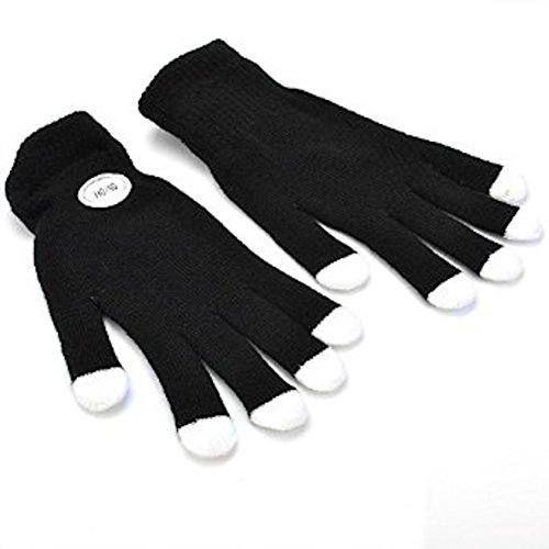 NEO+ Zauberhafte 7-Mode Colorful LED Handschuhe Rave Licht Finger Beleuchtung blinkende Handschuhe Unisex Handschuhe-EIN Paar, Black with White Tip - Adult Size - Größe: Medium/Large