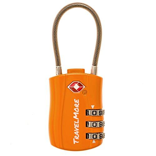 Lucchetti Valigia con Certificazione TSA - Lucchetti Bagagli da Viaggio a Cavo con 3 Dischi per Valigie - 1 Lucchetto a Combinazione Arancione
