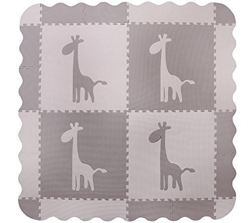 Große, graue, ineinandergreifende Babyspielmatte aus Schaum mit giraffen – Spielmatten mit Kanten. Jede Fliese 60 x 60 cm. Insgesamt 1,5m2