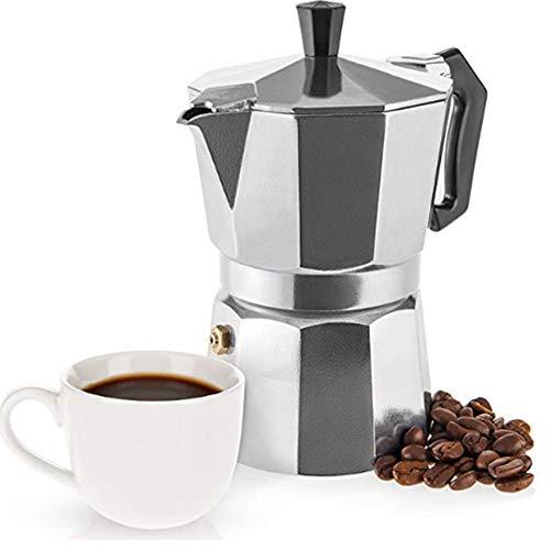 ZMYLOVE Máquina de café Espresso, cafetera Tradicional, Moca de Estilo Italiano, Aluminio, 6 Tazas, 9 Tazas y 12 Tazas,XS