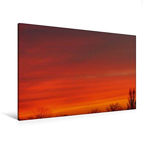 Calvendo Premium Textil-Leinwand 120 cm x 80 cm quer, Leuchtend ORANGE | Wandbild, Bild auf Keilrahmen, Fertigbild auf echter Leinwand, Leinwanddruck: Abendhimmel Natur Natur