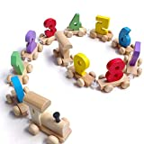 T-MEKA Holz Zug mit Zahlen 0-9für Kinder,Lernspielzeug Holzzug für Kinder ab 12+ Monate, Eisenbahnzug zum Nachziehen, Bunte Bahn(18*9*8CM)