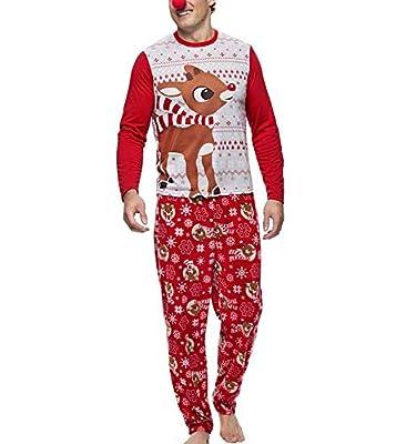 Conjunto de Pijamas Familiares de Navidad Dear Sleepwear Nightwear Camisas y Pantalones Casuales de papá y mamá y bebé + Sudadera con Capucha Tops de Blusa