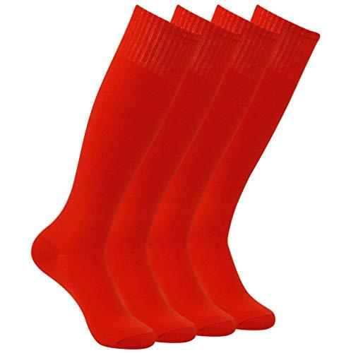 ng Tube Fußball-Socken, Knie High Solid Sport Fußball-Socken 2-10 Paare eine Größe passt 7-13 4 Paar-rot ()