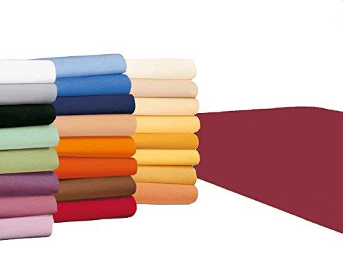 badtex24 Spannbettlaken 90 100 x 200 Spannbetttuch Bettlaken Jersey 100% Baumwolle 20 Farben Bordeaux 90x190-100x200cm