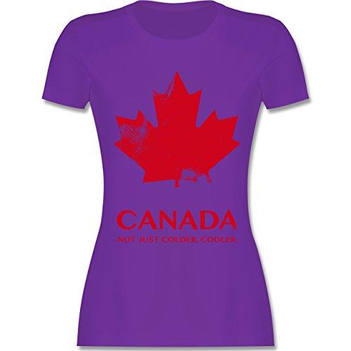 Shirtracer Länder - Canada Vintage Not Just Colder Cooler - Damen T-Shirt Rundhals Lila