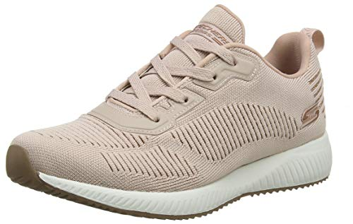 Skechers Damen Bobs Squad - Glam League Sneaker, (Engineered Knit/Rose Gold Trim Blush), 4 EU - Bob Frauen Sneaker Skechers