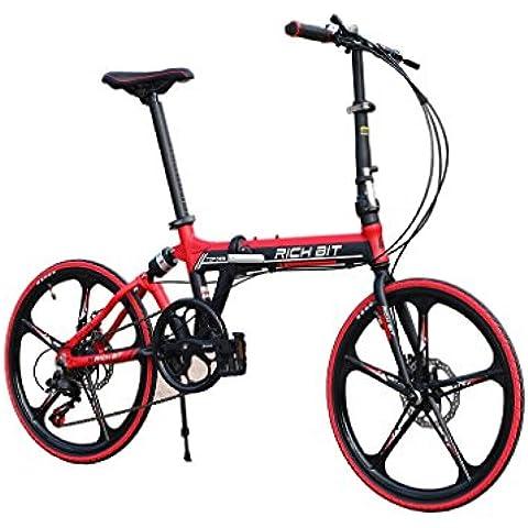 Bici pieghevoli BMX free style Bici da città Bici da strada Comfort bike 20 pollici 7 Velocità Sospensabile Alluminio Telaio Magnesio Integrato 5 raggi Ruota Doppio freni a Disc Cyrusher 2016 Nuova Aggiornata TP-023 Rosso - Doppio Spoke