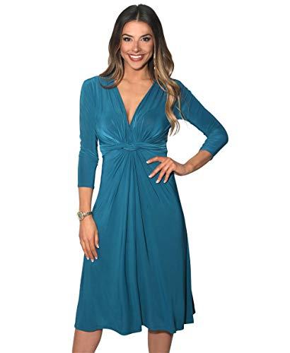 2705-TEA-18: 3/4 Arm Knoten Ausschnitt Midi Kleid (Petrol, Gr.46) Damen-tea-party