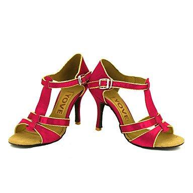 Scarpe da ballo-Personalizzabile-Da donna-Balli latino-americani Salsa-Tacco su misura-Raso-Nero Blu Giallo Rosa Viola Rosso Bianco nude