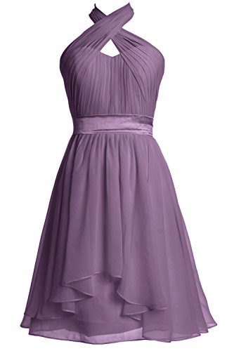 MACloth Women Halter Short Bridesmaid Dress Chiffon Cocktail Party Formal Gown Wisteria