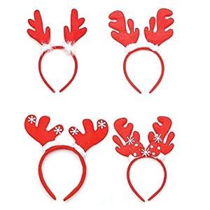 Shatchi 15649-HEADBENDS-4pcs 4pcs Navidad reno cuernos diademas Assoerted Navidad Fancy Dress Party Accesorios Calcetín Relleno Favours, Multi