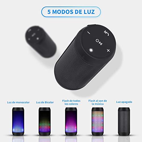 ELEHOT Altavoz Bluetooth Portatiles con Luz de 5 Modos Recargable USB Altavoces Bluetooth con Radio FM Inalambricos Potentes apoya TF Card/Memoria USB de 32G Altavoz Portatil Estereo (Batería 1800mAh)