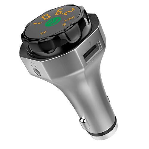 Transmisor FM Bluetooth Radio Adaptador Kit de coche con luz ambiental Soporte...