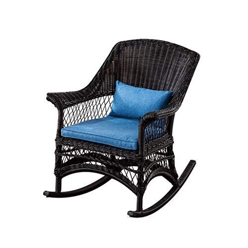 HYYTY-Y Outdoor Wicker Schaukelstuhl Rattan Patio Yard Möbel All-Wetter Mit Kissen (Blau) (Color : B) -