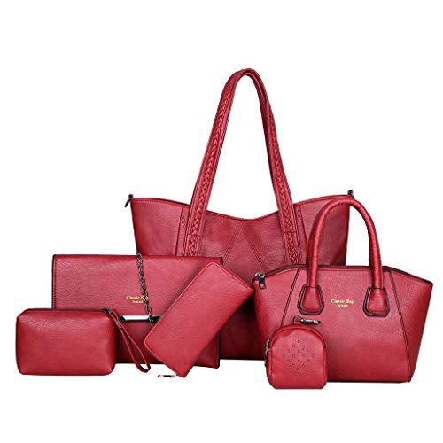 Damen handtaschen und geldbörsen 6 stück frauen retro griff tasche umhängetasche karte paket umhängetasche schlüsselanhänger