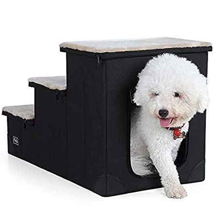 Petsfit Hundetreppe katzentreppe mit 3 Stufen,leichte, tragbare Haustiertreppe mit Plüschbezug- ideale für ältere oder…