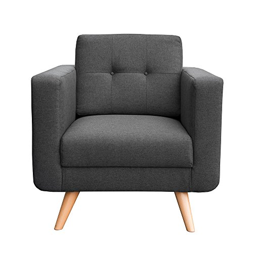 myHomery Sessel Hedvig gepolstert - Polsterstuhl für Esszimmer & Wohnzimmer - Lounge Sessel mit Armlehnen - Eleganter Retro Stuhl aus Stoff mit Holz Füßen - Anthrazit | Sessel