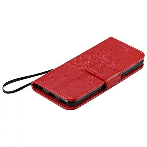 iPhone Case Cover Solid Color glücklicher Baum und Katze Premium-PU-Leder-Kasten-Embossing Schlag-Standplatz-Fall-Abdeckung mit Karte und Bargeld Slots für Apple iPod touch5 ( Color : Purple , Size :  Red