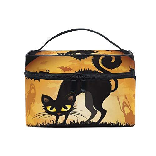 Tragbare hängende Make-up Kosmetiktasche Tasche,Travel Cosmetic Bag Halloween Cat Moon Bat Toiletry Makeup Bag Pouch Tote Case Organizer Storage for Women Girls (Kid Halloween-make-up Cat)