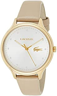 Lacoste Women'S Silver & White Dial Brown Leather Watch -
