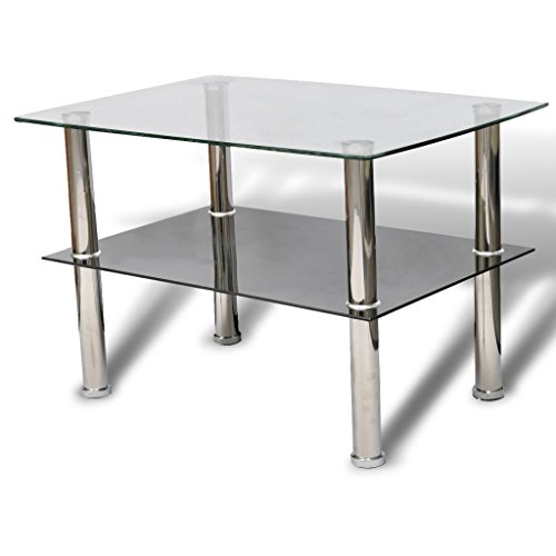 vidaXL Table Basse en Verre 2 Plateaux Rectangulaire Tables d'Appoint Salon