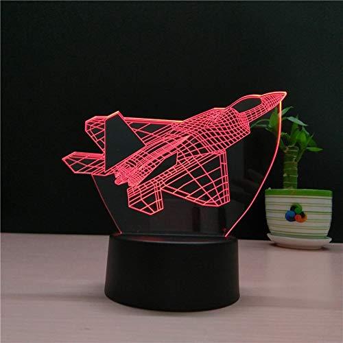 Kämpfer 3d nachtlicht neuheit illusion flugzeug nacht lampe usb led 7 farbwechsel geburtstagsparty atmosphäre lampe geschenk han-9028
