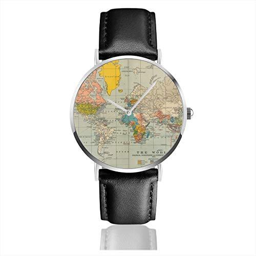 Armbanduhr Quarzuhr World Historische Karten Casual Uhren für Männer Frauen Damen mit schwarzem Leder (Personalisierte Familie Hinweis Karten)