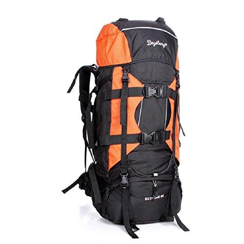 LF&F Backpack 80L Extra GroßE KapazitäT Outdoor Bergsteigen Tasche Fernreisen Camping Klettern Rucksack Wasserdichte Tear Racer Unisex GepäCk Tasche D