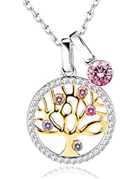 Collar Mujer, Árbol de la Vida Plata de Ley 925 Colgante con Cristales Swarovski,Ideal Regalo para Madre/Esposa/Navidad/Cumpleaños