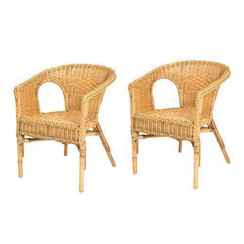 Lote de 2 sillones de mimbre Chris de color miel y barato