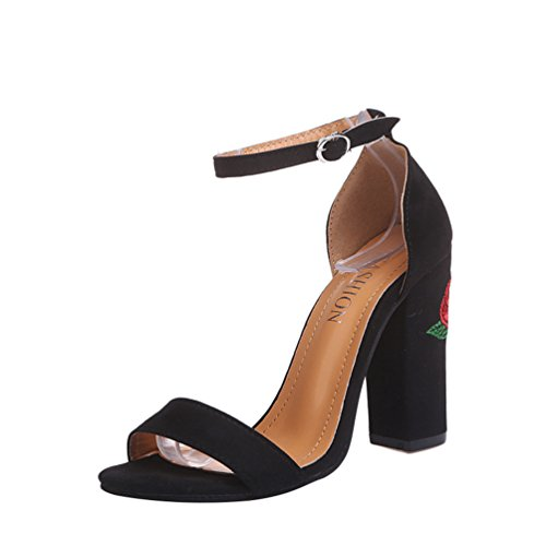 ZKOOO Sandali Alti Donna Fiore Ricamo Tacco Blocco Sandalo delle Signore Peep Toe Festa Scarpe Vintage Fibbia Nero