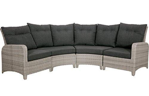 Gartenbank 4 Sitzer aus Polyrattan Geflecht grau inkl. Kissen anthrazit. Die runde Loungebank ist wetterfest, ideal für Garten, Terrasse und Balkon.
