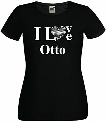 T-Shirt I Love Otto mit einer Strassaplikation / Strassherz Schwarz