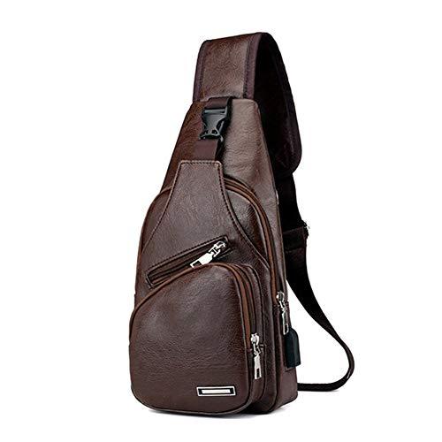 MAyouth Männer Brusttasche, echtes Leder-Umhängetasche Schulter-Beutel-Riemen-Beutel-Rucksack-Kurier-Beutel Daypack für Business Casual Sport Wandern Reisen -
