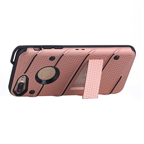 Wkae Charm Knight Abnehmbare PC + TPU Kombination Schutzhülle mit Halter für iPhone 7 Plus ( Color : Red ) Rose gold