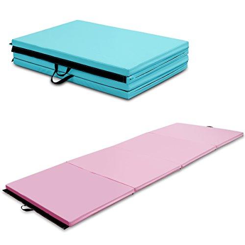 COSTWAY Weichbodenmatte Gymnastikmatte Yogamatte Turnmatte Klappmatte Fitnessmatte 300x120x5cm tragbar klappbar (rosa)