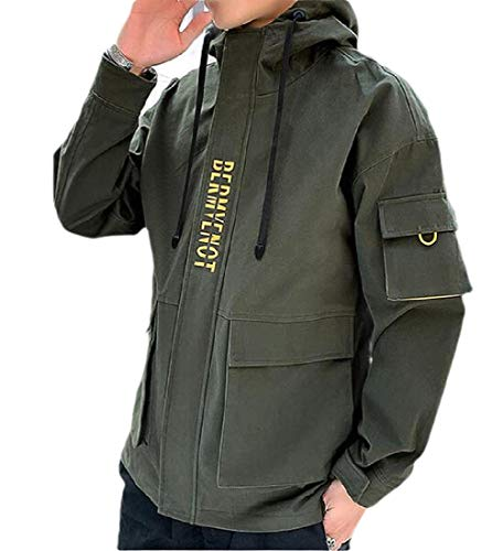 CuteRose Mens Hoodie Zip Up Utility Zippered Pocket On Sleeve Jacket Coat Army Green L