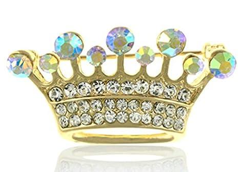 Gnzoe Jewelry, Men Women Brooch Rhinestone Crown Shape Bridal Wedding