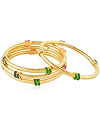 Allure International Gold Metal Bangle Set For Women, Set Of 4 (Size: 2.6, AIB 66)