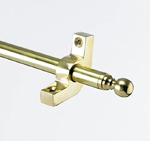 Brass Stair Rod 900mm Length With Ball Finials and Unhinged Brackets