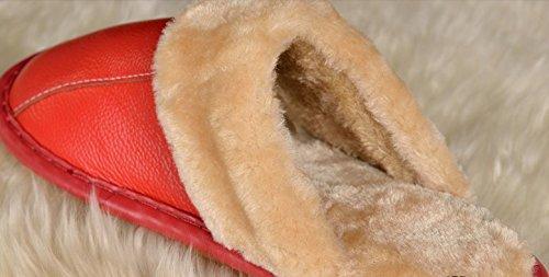 TELLW Inverno Mucca lanugine Pantofole Uomo e Donna casa Antiscivolo Caldo Interno in Legno Pavimento in Pelle Pantofole vino rosso delle donne