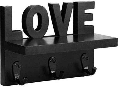 Beautiful Wooden Black Love Key Holder And Wall Shelf 3 Hooks By Artesia  available at amazon for Rs.399