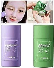 MENGSIQI Green Tea/Eggplant Purifying Clay Stick Mask(1pcs-Green Tea Mask+1pcs -Eggplant Mask)