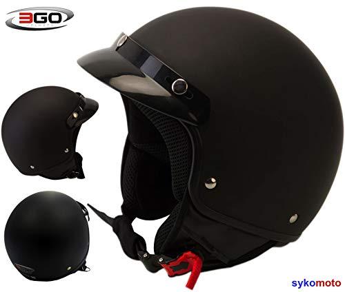 3GO-HELMETS CASCO DA MOTOCICLISTA ADULTO APERTO FACCIA CASCO MOTO RETRO UNISEX DONNA UOMO MOTORINO TOURING JET CUSTOM ECE OMOLOGATO CASCHI NERO OPACO (XS (53-54 CM))