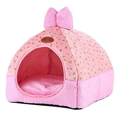 FERFERFERWON 2-in-1-Haustierhaus, faltbar, süße Schleife, Kaninchennest, weiches Zelt, für Haustiere, Größe 32 x 32 x 33 cm, Rosa